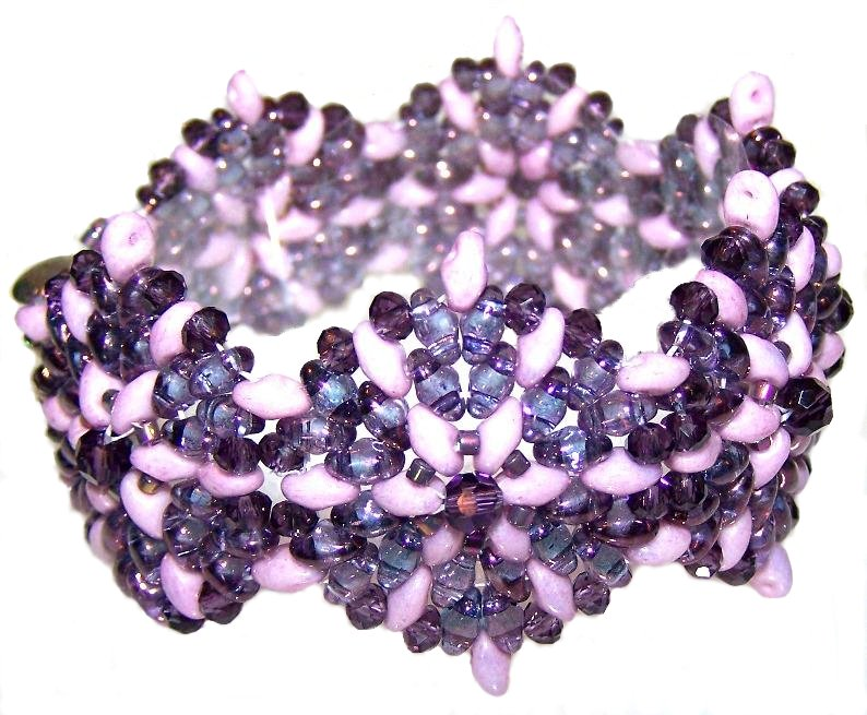 Beaded Bracelet featuring Czech Glass Superduo Beads Inspired by Michelle Heim