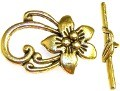 10 Antique Gold-Plated 20x29mm Flower Toggle Clasps