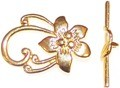 10 Gold-Plated 20x29mm Flower Toggle Clasps
