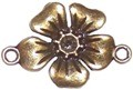 10 Antique Bronze 27x18mm Flower Connectors