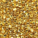 4 Dozen Czech 2mm Fire-Polished Glass Beads - Crystal Gold Plated