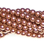 1 Strand of Czech Glass 3mm Pearl Beads - Antique Gold