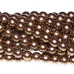 1 Strand of Czech Glass 3mm Pearl Beads - Brass
