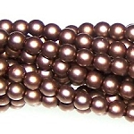 1 Strand of Czech Glass 3mm Pearl Beads - Brown Satin