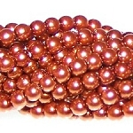 1 Strand of Czech Glass 3mm Pearl Beads - Copper