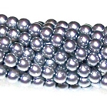 1 Strand of Czech Glass 3mm Pearl Beads - Light Grey