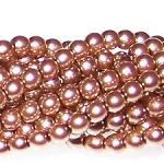 1 Strand of Czech Glass 3mm Pearl Beads - Sand