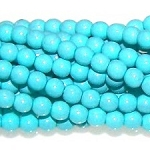 1 Strand of Czech Glass 3mm Pearl Beads - Turquoise
