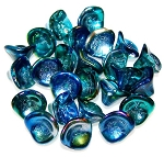 10 Czech Glass 10x12mm 3-Petal Flower Beads - Metallic Blue Peacock