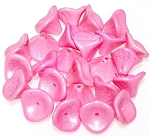 10 Czech Glass 10x12mm 3-Petal Flower Beads - Opaque Pink