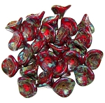 10 Czech Glass 10x12mm 3-Petal Flower Beads - Opaque Red Picasso