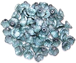 25 Czech Glass 7x5mm Flower Cup Beads - Chalk White Teal Luster