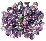 25 Czech Glass 7x5mm Flower Cup Beads - Crystal Magic Purple