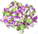 25 Czech Glass 7x5mm Flower Cup Beads - Chalk White Funky Orchid