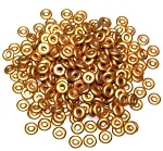 5 Grams of 4x1mm Czech Glass O-Beads - Brass Gold