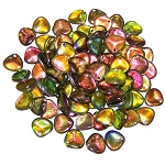 40 Czech Glass 8x7mm Petals - Crystal Magic Green