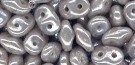 7.5 Grams - Superduo Beads - OPAQUE GREY WHITE LUSTER