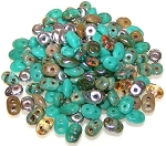 7.5 Grams - Superduo Beads - African Turquoise Mix