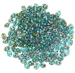 7.5 Grams - Superduo Beads - Aqua Picasso