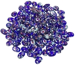 7.5 Grams - Superduo Beads - Cobalt Picasso