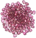 7.5 Grams - Superduo Beads - Halo Persian Pink