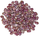 7.5 Grams - Superduo Beads - Opaque Violet Picasso