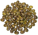 7.5 Grams - Superduo Beads - Opaque Yellow Bronze Picasso