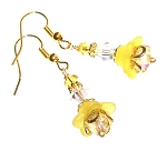 Vibrant Yellow Flowers Earrings Beaded Jewelry Making Kit
