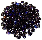 7.5 Grams of MiniDuo Czech Glass Beads - Jet Azuro