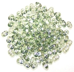 7.5 Grams of MiniDuo Czech Glass Beads - Crystal Green Luster