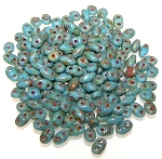 7.5 Grams of MiniDuo Czech Glass Beads - Opaque Light Blue Picasso