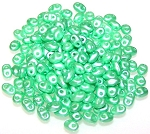 7.5 Grams of MiniDuo Czech Glass Beads - Pastel Light Green