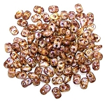 7.5 Grams of MiniDuo Czech Glass Beads - Chalk Senegal Brown Purple