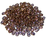 7.5 Grams of MiniDuo Czech Glass Beads - Transparent Bronze
