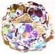 10 - Crystal AB 8mm SP Rhinestone Round Beads