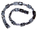 6 - 12x16mm Puff Rectangle Semiprecious Gemstone Beads - Snowflake Obsidian