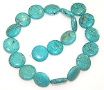 2 Turquoise Colored Howlite 20mm Puff Coin Semiprecious Gemstone Beads