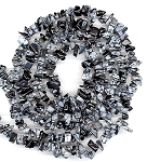 1/2 Strand of Semiprecious Gemstone Chip Beads - Snowflake Obsidian