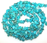 1 Strand of Semiprecious Gemstone Chip Beads - Blue Turquoise Colored Howlite