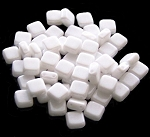 25 Czech Glass 2-Hole 6mm Tile Beads - Alabaster Shimmer