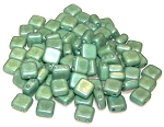25 Czech Glass 2-Hole 6mm Tile Beads - Alabaster Teal Luster