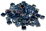 25 Czech Glass 2-Hole 6mm Tile Beads - Jet Picasso