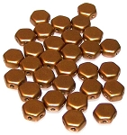 30 Czech Glass 6mm Honeycomb Hex 2-Hole Beads - Matte Metallic Antique Brass