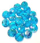 2 Dozen Czech 12mm Fire-Polished - Aqua AB
