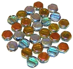 30 Czech Glass 6mm Honeycomb Hex 2-Hole Beads - Aqua Orange Rainbow