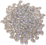 7.5 Grams of MiniDuo Czech Glass Beads - Ashen Grey Luster