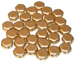 30 Czech Glass 6mm Honeycomb Hex 2-Hole Beads - Aztec Gold