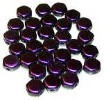 30 Czech Glass 6mm Honeycomb Hex 2-Hole Beads - Motley Black Raspberry