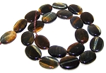 6 - 13x18mm Puff Oval Semiprecious Gemstone Beads - Natural Blue Tiger Eye