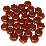 30 Czech Glass 6mm Honeycomb Hex 2-Hole Beads - Crystal Bronze Fire Red